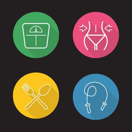 Donne di forma fisica icone lineari piatta impostato. Bilance da pavimento, perdita di peso, corda per saltare, cucchiaio e forchetta attraversato. Dieta nutrizione. Long Shadow contorno logo concetti. Vector linea d'arte illustrazioni su cerchi di colore Logo