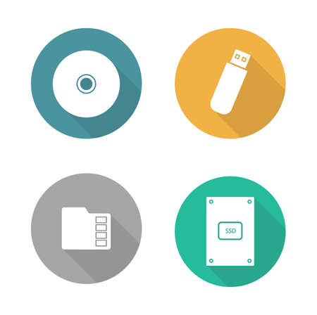hdd: Digital data storage devices flat design icons set. Cd disc, pocket usb flash drive, memory sd card, external hdd. Long shadow logo concepts. Computer hardware equipment. Vector illustrations