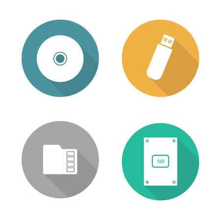 computer hardware: Digital data storage devices flat design icons set. Cd disc, pocket usb flash drive, memory sd card, external hdd. Long shadow logo concepts. Computer hardware equipment. Vector illustrations