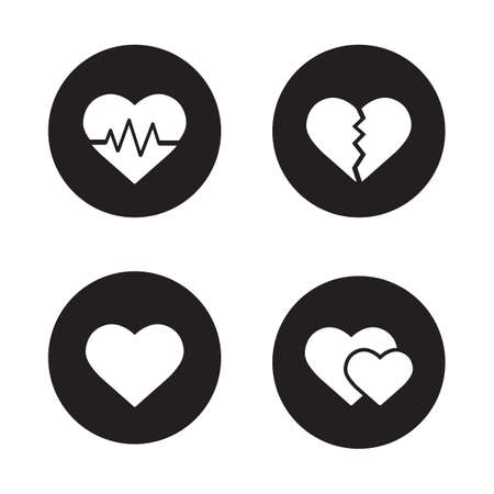 heart attack: Heart shapes black icons set. EKG symbol, broken heart with crack, love sign, two sweethearts. Cardiology center, heart attack, heartbeat rhythm. White silhouettes illustrations. Vector logo concepts