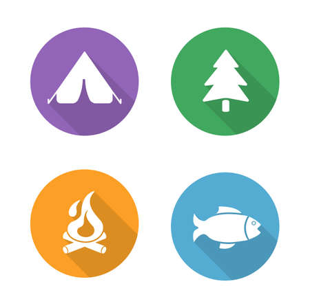 survival: Camping flat design icons set. Camp tent, forest tree symbol, campfire, fishing sign. Outdoor recreation and survival long shadow logo concepts. White silhouette illustrations on color circles. Vector