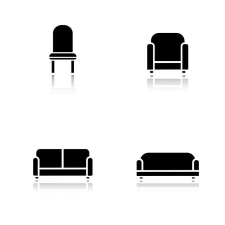 cushioned: Soft furniture drop shadow icons set. Cushioned living room sofa. Home interior upholstery chair. Furnishing couch and armchair. Cast shadow logo concepts. Vector black silhouette illustrations Illustration