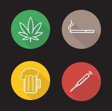drug use: Bad habits linear icons set. Green marijuana leaf, cigarette smoking, glass of beer, drug use. Addictions long shadow outline logo concepts. White line illustrations on color circles. Vector