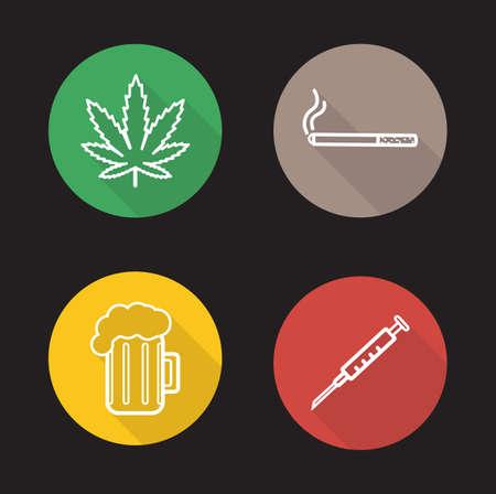 establecen los malos hábitos iconos lineales. Hoja verde de la marihuana, el consumo de cigarrillos, vaso de cerveza, el consumo de drogas. Adicciones larga sombra conceptos Esquema del logotipo. ilustraciones línea blanca en los círculos de color. Vector