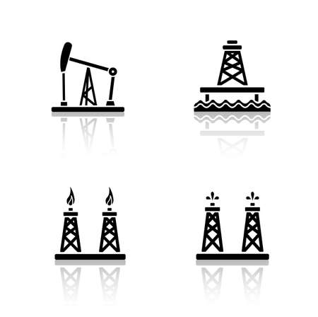 industrial complex: Oil platforms drop shadow icons set. Drilling rig, offshore well, gas and petroleum production industry. Cast shadow logo concepts. Fossil drilling towers. Vector black silhouette illustrations