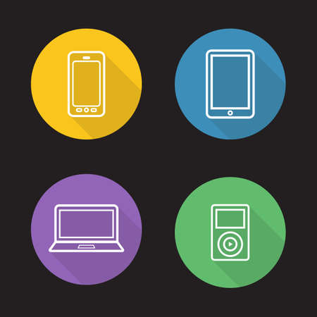 consumer electronics: Modern gadgets flat linear icons set. Digital devices. Portable tablet pc, mp3 music player, laptop and smartphone. Consumer electronics. Long shadow outline symbols. Vector line art illustrations