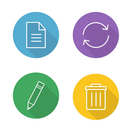 delete button: File editor flat linear icons set. New document paper symbol, refresh page, edit icon, trash bin, delete button. Organizer app ui. Long shadow outline logo concepts. Vector line art illustrations