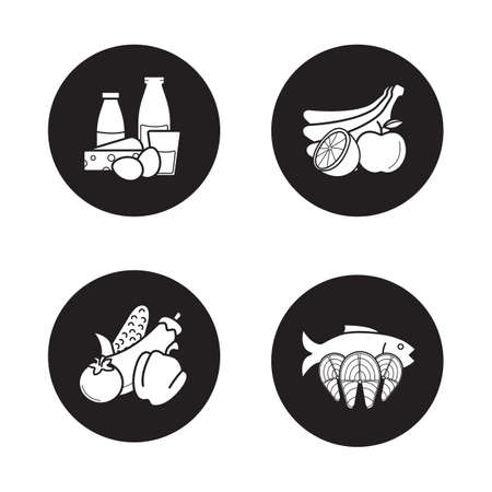Grocery store products black icons set. Dairy products, fruits, vegetables, fish fillet. Supermarket food categories. Healthy diet items. White silhouettes illustrations. Logo concepts. Vector