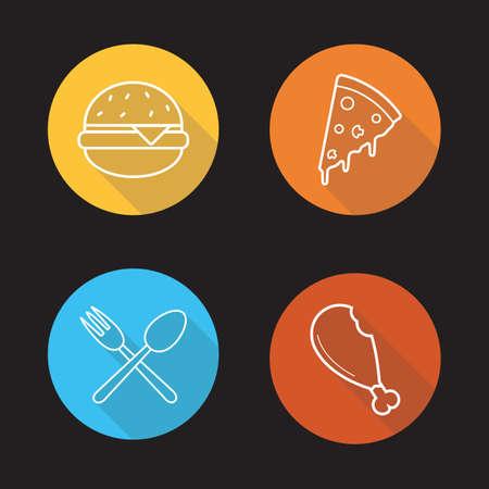 Food flat linear icons set.