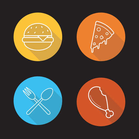 Food flat linear icons set.