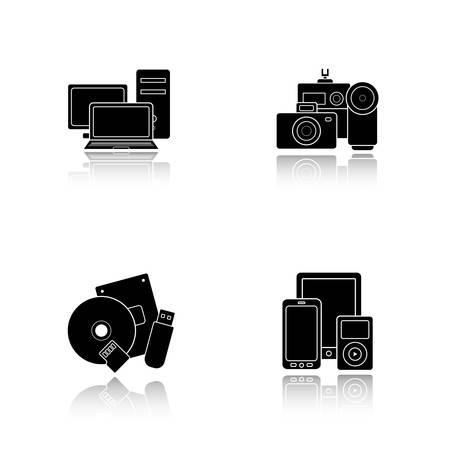 consumer electronics: Consumer electronics drop shadow icons set.