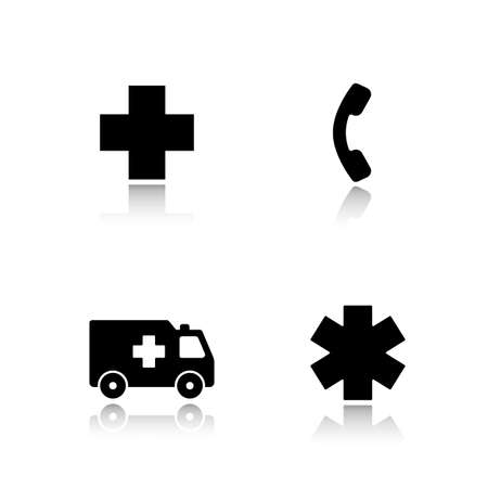 car care center: Ambulance drop shadow icons set.