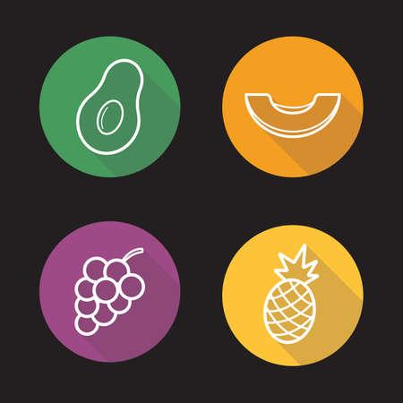 crop circle: Tropical fruits flat linear icons set.