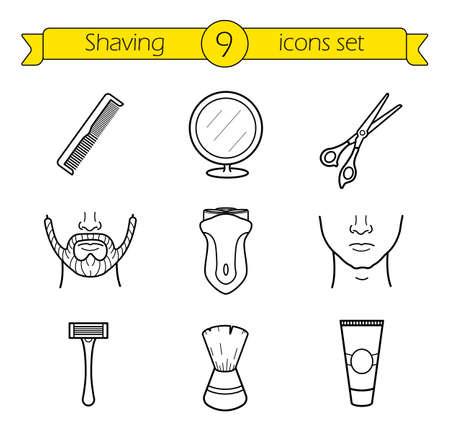 Shaving linear icons set.