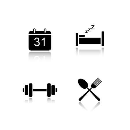 everyday: Everyday activities drop shadow icons set.