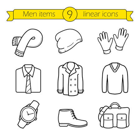 Winter clothes linear icons set. Ilustração