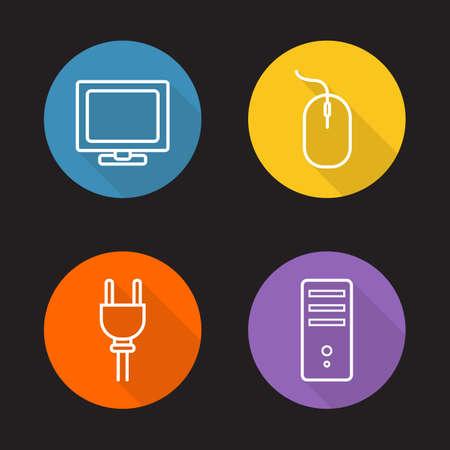 tv unit: Computer electronics flat linear icons set.