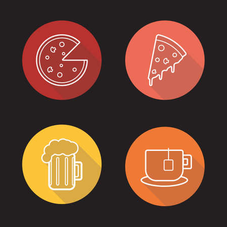 Pizza flat linear icons set.