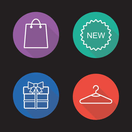 holiday shopping: Holiday shopping flat linear icons set.
