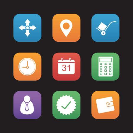 shipment tracking: Delivery service flat design icons set. Illustration