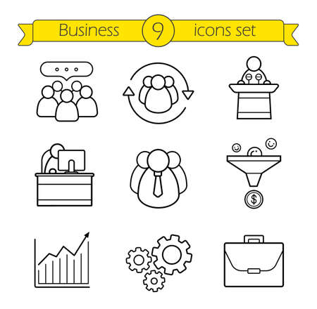 conference speaker: Business linear icons set. Teamwork, sales funnel and work management thin line illustrations. Growth chart, conference speaker podium and office worker symbols. Vector isolated outline drawings Illustration