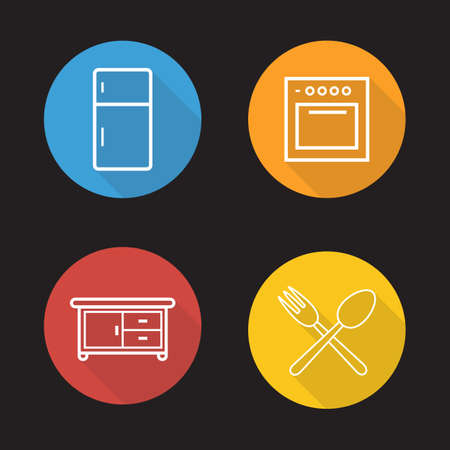 kitchen cabinet: Kitchen interior flat linear icons set. Fridge, oven, cooking cabinet, fork and spoon symbols.  Long shadow outline logo concepts. Vector line art illustrations