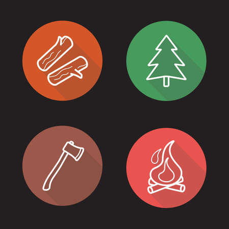 wild nature: Camping flat linear long shadow icons set. Firewood, fir tree, ax and campfire symbols. Outdoor, wild nature recreation items. Outline logo concepts. Vector line art illustrations