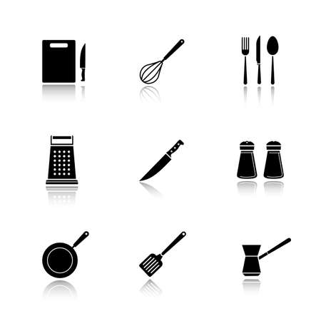 web cast: Kitchenware drop shadow black icons set. Cutting board, grater, iron skillet and spatula symbols. Kitchen tools items. Cooking equipment. Cuisine instruments. Logo concepts. Vector illustrations