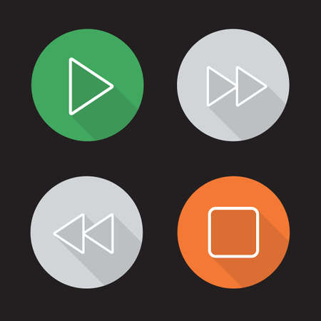 music player: Audio player flat linear icons set. Play, stop, forward and backward rewind buttons. Multimedia app interface. Long shadow outline logo concepts. Vector line art illustrations