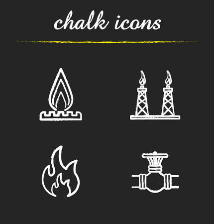 stove pipe: Gas industry chalk icons set. Gas stove, pipeline valve, flammable sign, gas platform. White illustrations on blackboard. Vector chalkboard logo concepts