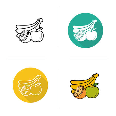 banana leaf: Fruits flat design, linear and color icons set. Banana, apple with leaf and orange half symbols. Contour and long shadow logo concepts. Isolated vector illustrations