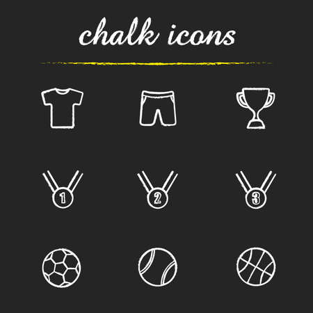award ceremony: Sport equipment chalk icons set. Shorts and t-shirt. Award ceremony items. Winner cup and medals. Soccer, basketball and tennis balls. White illustration on blackboard. Vector chalkboard logo concepts Illustration
