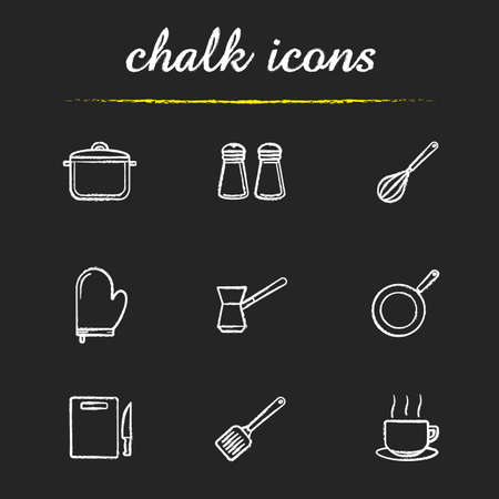 stew pan: Kitchenware chalk icons set. Stew pan, iron skillet and cutting board symbols. Kitchen tools items. Cooking equipment. White illustrations on blackboard. Vector chalkboard logo concepts