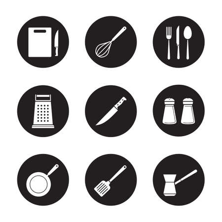 kitchen tools: Kitchenware black icons set. White silhouettes illustrations. Cutting board, grater, frying pan and spatula icons. Kitchen tools items. Cooking equipment. Cuisine instruments. Vector logo concepts. Illustration