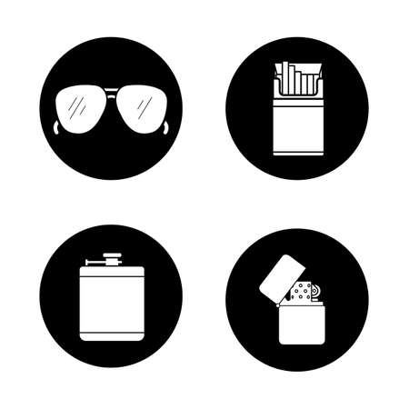 cigarette pack: Mens accessories black icons set. Alcohol hip flask, open cigarette pack, sunglasses and flip lighter symbols. Everyday carry items. White silhouettes illustrations. Vector logo concepts Illustration