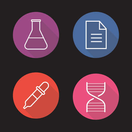 test results: Laboratory flat linear long shadow icons set. Medical lab flask, test results, DNA stand and dropper symbols. Science research equipment. Outline logo concepts. Vector line art illustrations Illustration