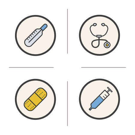 bandaid: Medical equipment color icons set. Thermometer, stethoscope, medical bandaid adhesive plaster and syringe. First aid and health care items. Logo concepts. Vector isolated illustrations