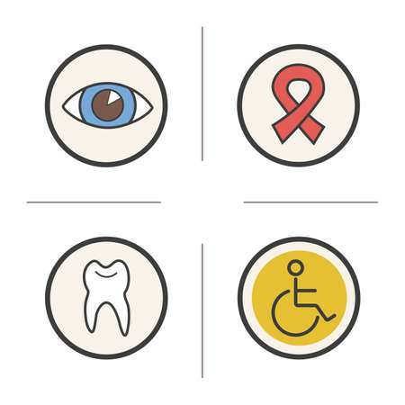 ophthalmologist: Medical color icons set. Ophthalmologist doctor eye sight symbols. HIV aids awareness ribbon. Dentist and stomatology tooth symbol and wheelchair icon. Logo concepts. Vector isolated illustrations Illustration
