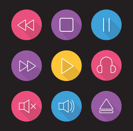 multimedia icons: Multimedia flat linear long shadow icons set. Audio and video control elements. Mp3 music player. User graphic interface items. Rewind, pause, stop and play buttons. Vector illustrations