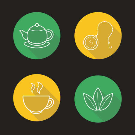 Tea set flat linear long shadow icons set. Teapot saucer, steaming cup, ball infuser and green tea leaves symbols. Outline logo concepts. Vector line art illustrations Illustration