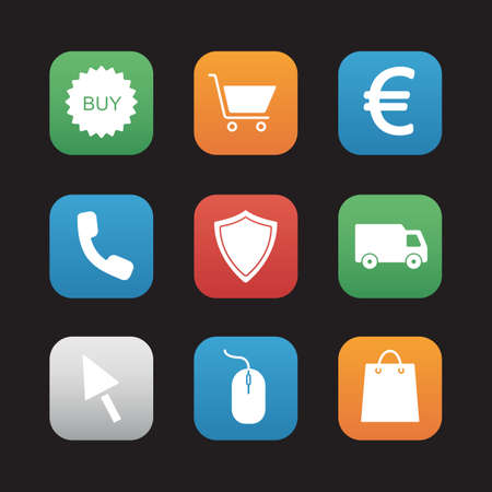 mouse click: Online store flat design icons set. Web shop application interface. Business and marketing. Shopping bag and delivery van. Euro sign and buy badge. Security shield and mouse click symbols.Vector