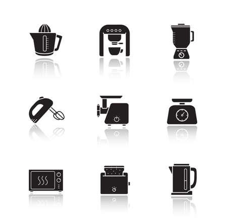 microondas: electr�nica de cocina caen sombra iconos establecidos. Utensilios de cocina de art�culos el�ctricos para art�culos. dispositivos de cocina del hogar del consumidor. horno de microondas, licuadora y mezclador de ilustraciones en blanco aislado en blanco. Vector Vectores