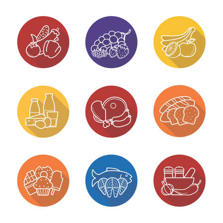 categories: Grocery store items flat linear long shadow icons set. Raw meat, fish, bread, spices, fruits and sweets symbols. Supermarket products categories.  Outline logo concepts. Vector line art illustrations Illustration