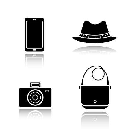 slr: Mens accessories drop shadow black icons set. Homburg hat, slr photo camera, smart phone and handbag. Everyday carry items. Modern gadgets and fashion symbols. Logo concepts. Vector illustrations