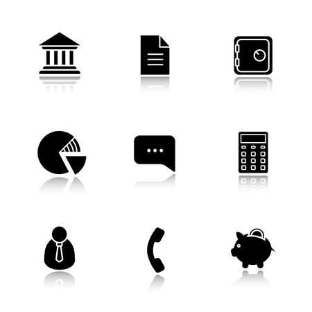 shareholder: Finance and banking drop shadow icon set. Bank building and deposit box. Piggy bank and shares diagram. Client manager and calculate symbol. Investment and business illustrations. Vector logo concepts