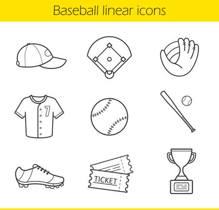 line drawings: Baseball linear icons set. Isolated baseball game equipment thin line illustrations. Baseball player uniform cap, shirt and shoes. Baseball bat and ball contour symbols. Vector isolated drawings Illustration