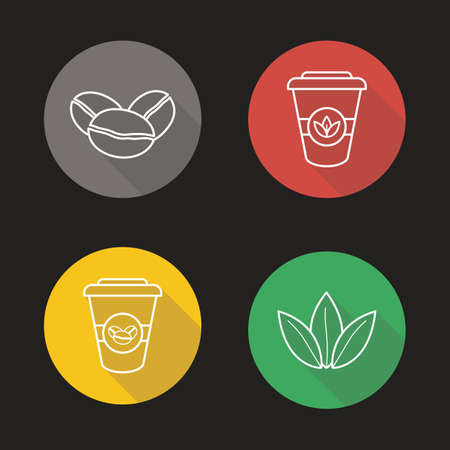 tea leaves: Coffee and tea flat linear long shadow icons set. Coffee beans, tea leaves and disposable paper cups symbols. Hot drinks. Coffee to go sign. Outline logo concepts. Vector line art illustrations