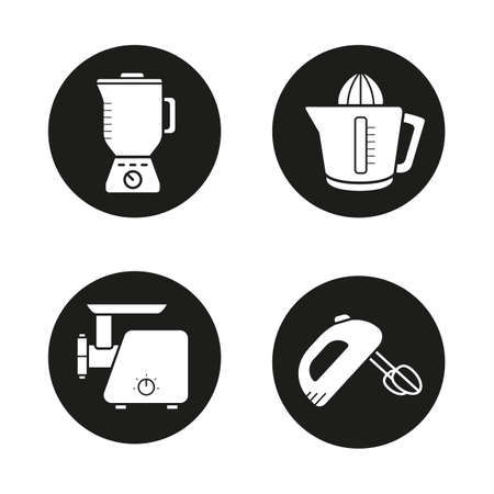Kitchen equipment black icons set. Multi speed blender, meat-mincer, hand mixer and juicer symbols. Kitchenware electronic items. Cooking tools. White silhouettes illustrations. Vector logo concepts