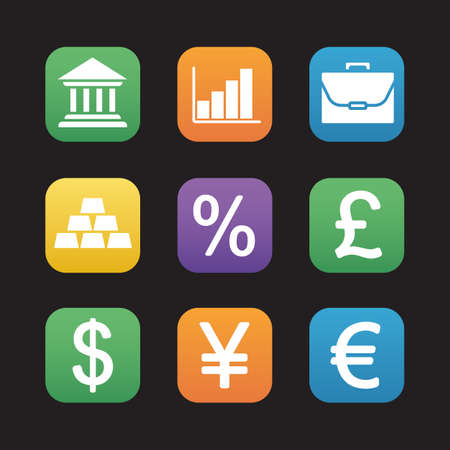 Finance And Banking Flat Design Icons Set Trading And Stock