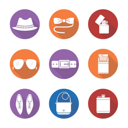 cigarette pack: Mens accessories flat design long shadow icons set. Hipster tuxedo butterfly tie and sunglasses. Homburg hat, cigarette pack and flip lighter. Logo concepts. Vector white silhouette illustrations Illustration